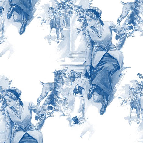 Equestrienne & The Hounds ~ Blue & White fabric by peacoquettedesigns on Spoonflower - custom fabric