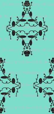 Turquoise and Black Damask