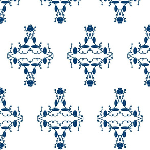White and Navy Damask