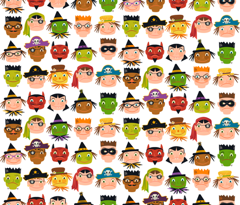 Sweet and Sour Pusses (on white) fabric by retrorudolphs on Spoonflower - custom fabric