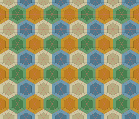 Colorful Tessellated Hexagonal Wheel fabric by zephyrus_books on Spoonflower - custom fabric