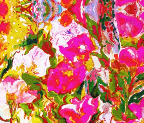 Garden Flowers pink fabric by bettieblue_designs on Spoonflower - custom fabric