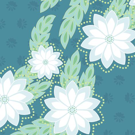 kanzashi breeze - deep teal fabric by fox&lark on Spoonflower - custom fabric