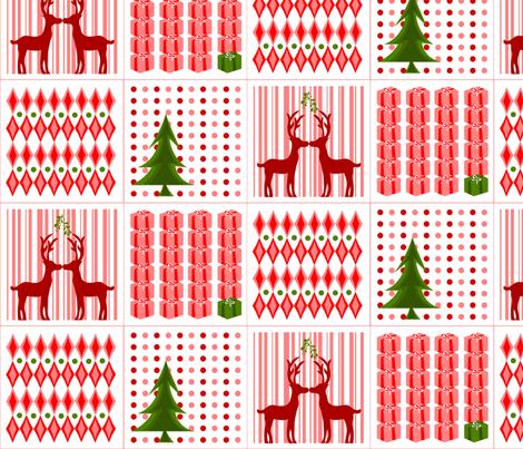 Kissing Reindeer Cocktail Napkins fabric by ninjaauntsdesigns on Spoonflower - custom fabric