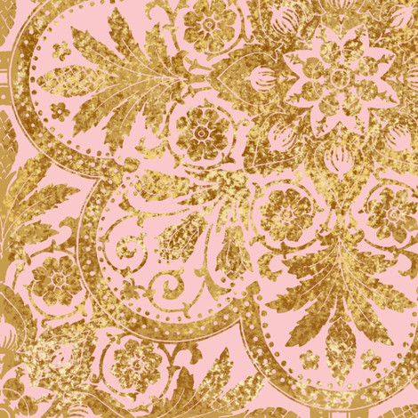 Bourgogne Tile ~ Gilt Gold and Dauphine Pink  fabric by peacoquettedesigns on Spoonflower - custom fabric