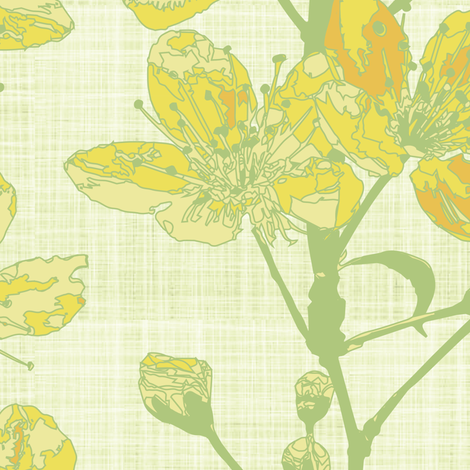 cherry sprigs - honey yellow fabric by fox&lark on Spoonflower - custom fabric