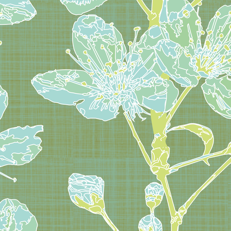 cherry sprigs - sage fabric by fox&lark on Spoonflower - custom fabric