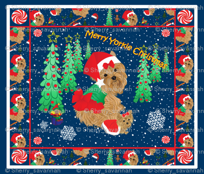 Yorkie Christmas Quilt Panel