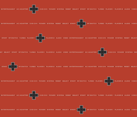 8bit Labels Red fabric by ilikemeat on Spoonflower - custom fabric