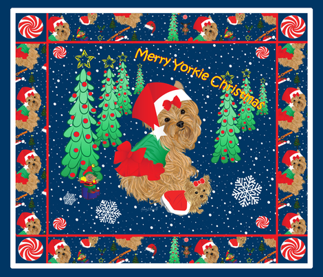 Yorkie Christmas Quilt Panel PIllows fabric by sherry-savannah on Spoonflower - custom fabric