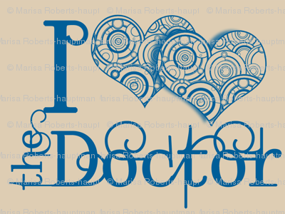 I double heart the doctor - blue on beige