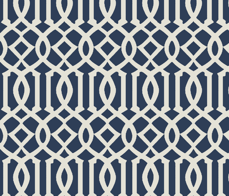 Trellis Fabric imperial trellis-navy-large fabric - mrsmberry - spoonflower