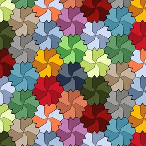 Colorful Floral Tessellated Hexagon - Red, Blue, Green, Yellow, Purple, Orange, Pink
