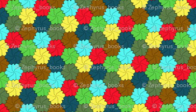 Colorful Floral Tessellated Hexagon - Green, Yellow, Red Brown, Blue