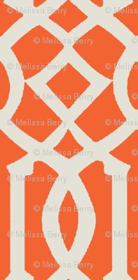 Imperial Trellis-Orange/Off White