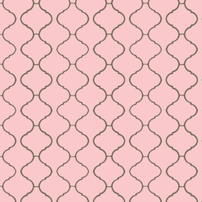 Moorish Tile Trellis Pink and Greige