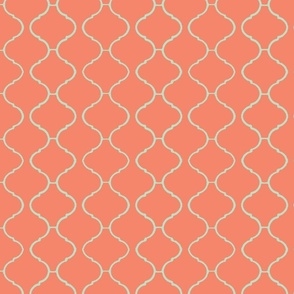 Moorish Tile Trellis Coral and Aqua