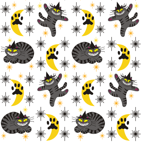 Magical Mr. Midnight in Charcoal & Marigold on White Background fabric by 3catsgraphics on Spoonflower - custom fabric