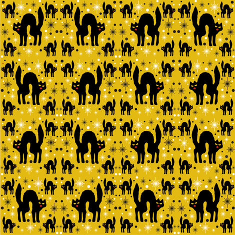 Retro Style Black Cats with Starbursts & Marigold Background fabric by 3catsgraphics on Spoonflower - custom fabric
