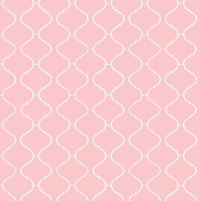 Moorish Tile Trellis Pink and White