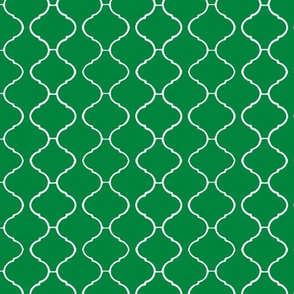 Moorish Tile Trellis Emerald and White