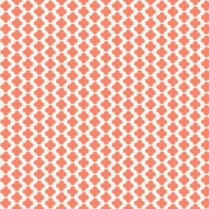 Quatrefoil Mini Print Coral and White
