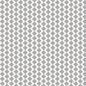 Quatrefoil Mini Print Gray and White