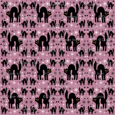 Retro Style Black Cats with Starbursts & Dusty Rose Background