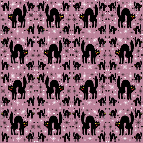 Retro Style Black Cats with Starbursts & Dusty Rose Background fabric by 3catsgraphics on Spoonflower - custom fabric