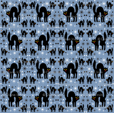 Retro Style Black Cats with Starbursts & Dusty Blueberry Background
