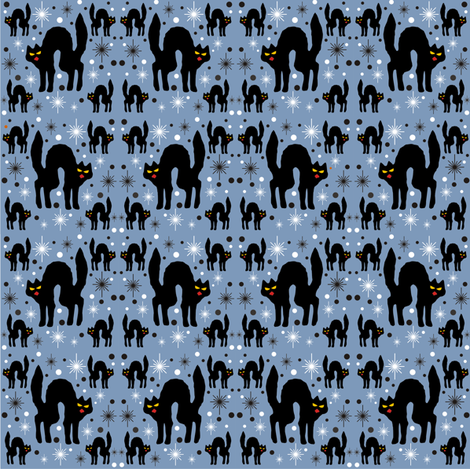 Retro Style Black Cats with Starbursts & Dusty Blueberry Background fabric by 3catsgraphics on Spoonflower - custom fabric