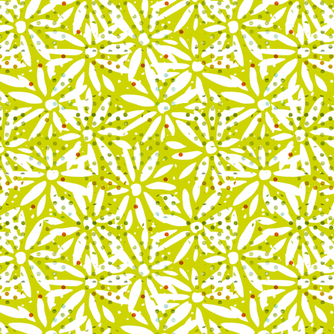 Kiwi cutout daisy fabric by sandeehjorth on Spoonflower - custom fabric