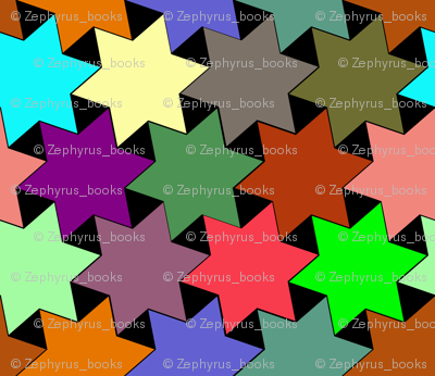 Stars - Purple, Pink, Green, Yellow, Blue, Brown and Orange on Black Background