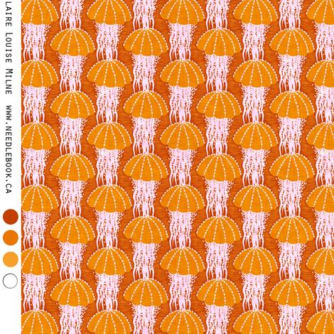 Jellyfish drift : small (25 percent) orange fabric by needlebook on Spoonflower - custom fabric