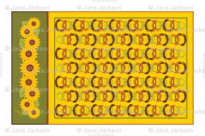 Golden Sunflowers Tea Towel