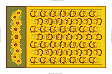 Golden Sunflowers Tea Towel fabric by jjtrends on Spoonflower - custom fabric