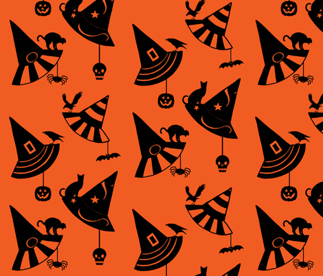 Halloween Hats - orange/black fabric by painter13 on Spoonflower - custom fabric