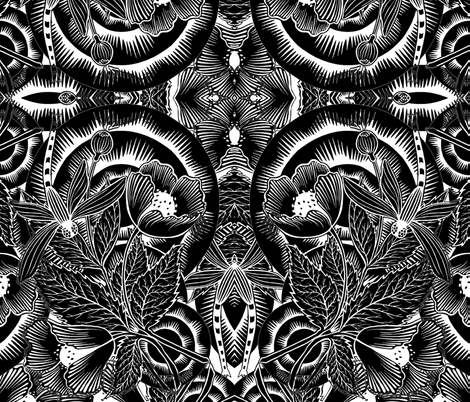 Dragonfly in black and white fabric by whimzwhirled on Spoonflower - custom fabric
