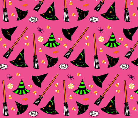 Boo! - pink fabric by painter13 on Spoonflower - custom fabric