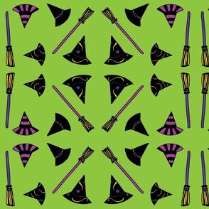 Hats & Brooms - green
