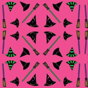 Witch Hats & Brooms - pink