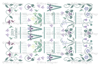 2014 cross-stitch garden linen teatowel calendar  - 18x27in