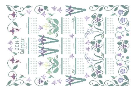 2014 cross-stitch garden linen teatowel calendar  - 18x27in fabric by mina on Spoonflower - custom fabric