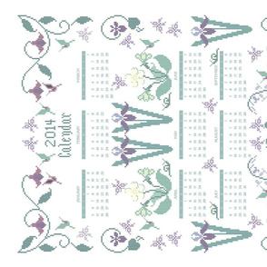 2014 cross-stitch garden linen teatowel calendar  - 18x27in