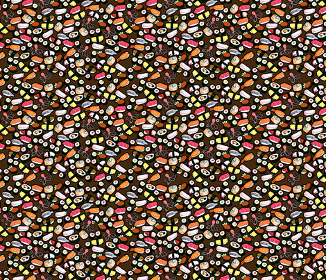 Sushi on Dark - Smaller fabric by thickblackoutline on Spoonflower - custom fabric