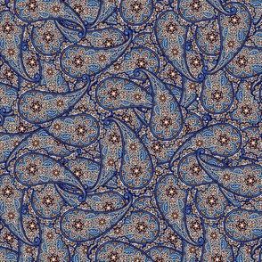 Floral Paisley tan and blue © 2012 by Jane Walker