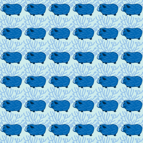 Guinea pig & a bush (Blue) fabric by strawberry_fields_ on Spoonflower - custom fabric
