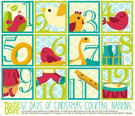 12 days of Christmas Cocktail Napkins fabric by kfay on Spoonflower - custom fabric