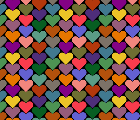 Multi-Colored Hearts - Green, Blue, Yellow, Brown, Pink Purple, Orange fabric by zephyrus_books on Spoonflower - custom fabric