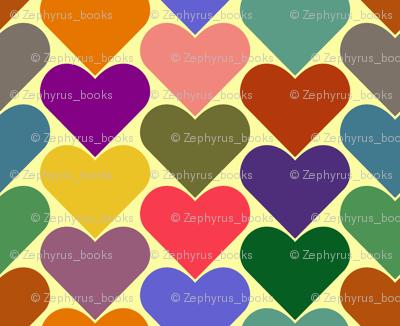 Multi-Colored Hearts - Yellow, Pink, Green, Blue, Purple